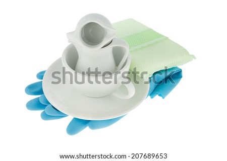 Kitchen utensil with coffee cup,blue gloves and green sponge for washing dish isolated on white background