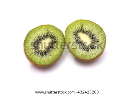 Kiwi fruit fresh on white background,wood background
