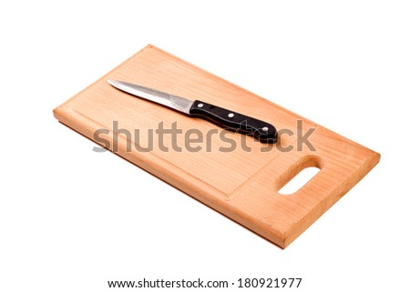 Knife on cutting board isolated