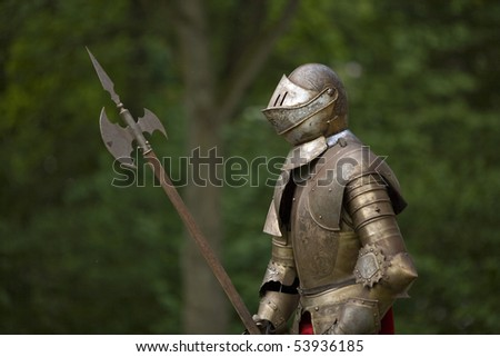 Knight in armor, ready for a confrontation in the forest