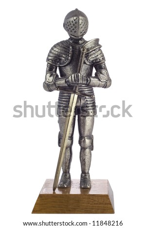 knight statue isolated with clipping path