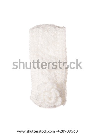 Knitted children's head bandage. Isolated on the white background.