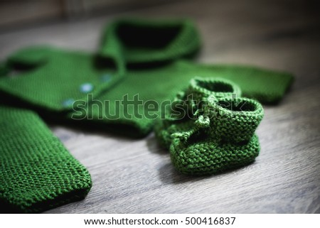 Knitting baby boots