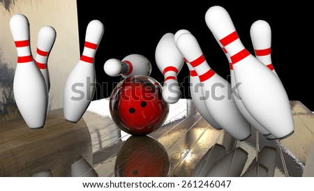 knocking down all ten pins in a row 3d rendering