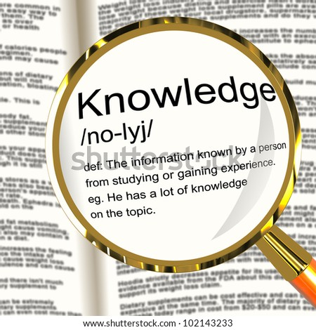 Knowledge Definition Magnifier Shows Information Intelligence And Education