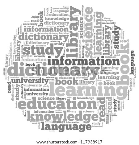 Knowledge info-text graphics and arrangement concept on white background (word cloud)