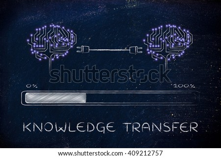 knowledge transfer: electronic circuit brains connected by plugs exchanging information with progress bar loading