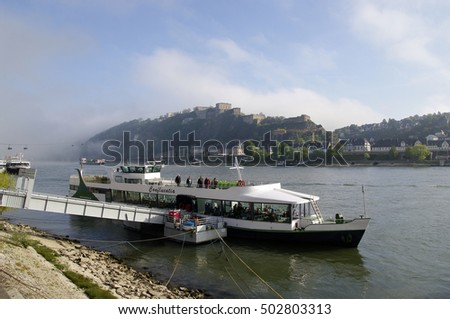KOBLENZ, GERMANY - 16.10.2016 Rhine cable car to Fortress Ehrenbreitstein in the foggy background.