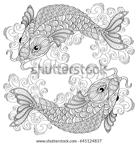 Koi Fish Chinese Carps Pisces Adult Antistress Coloring Page Black And White