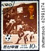 KOREA - CIRCA 1988: stamp printed by Korea, shows soccer championships, circa 1988. - stock photo