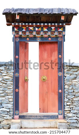 Korea wooden door with stone wall isolate background
