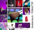 Kosmetik and Make-up Collage - stock photo