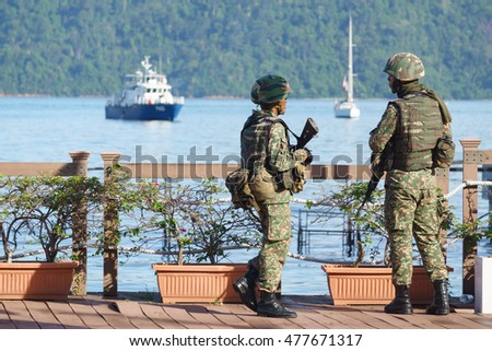 Kota Kinabalu Malaysia - Aug 31, 2016 : Malaysian army in standby position during National Day in Sabah. Authority announce alerts on possibility of intruders due to conflict in southern Phillipines.