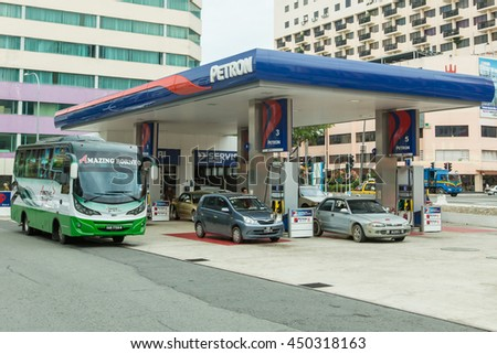 Kota Kinabalu Sabah July 3, 2016 :Fuel Station belong to PETRON oil company operate at KK town pictured on Jly 3,2016. The company takeover all Esso retails outlet in Malaysia a few years back.