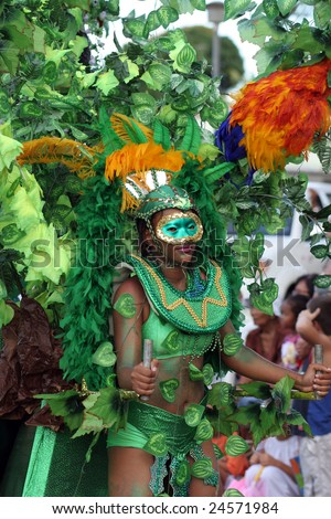 KOUROU, FRENCH GUIANA - FEBRUARY 11: this woman participates in the main carnival parade February 11, 2007 in Kourou, French Guiana. The yearly theme contest is the NATURE.