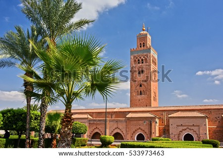 Koutoubia Mosque in the southwest medina quarter of Marrakesh, Morocco