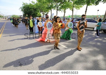 KRABI, THAILAND - JUNE 27 : Students from Ammartpanichnukul school marched in Sports Day parade on June 27, 2016 in Krabi, Thailand.