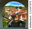 Krumlov town from castle window, Czech - stock photo