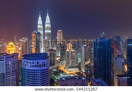 KUALA LUMPUR - 20 DECEMBER 2016 : Kuala Lumpur is the capital and the largest city of Malaysia. This image may contain noise and blurry clouds due to long exposure, soft focus and poor lighting