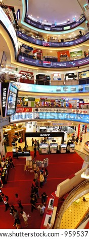KUALA LUMPUR - FEBRUARY 22:Panoramic view of  Low Yat Plaza Interior on February 22, 2012 in Kuala Lumpur, Malaysia. Low Yat Plaza is a modern hi-tech shopping mall specializing in electronic products