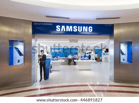 KUALA LUMPUR - JUNE 15, 2016: The Samsung store in the Suria KLCC. Samsung Electronics Co., Ltd. is the worlds second largest information technology company by revenue, after Apple.