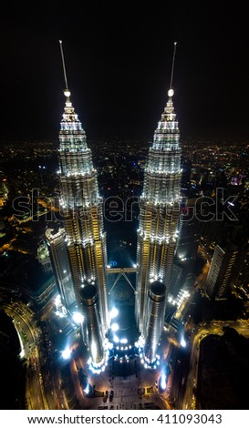 KUALA LUMPUR - MALAYSIA, APRIL 16 : Kuala Lumpur City Centre (KLCC) was a famous place in Malaysia. This image was capture thru drone during day night.