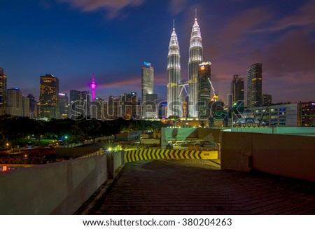 KUALA LUMPUR, MALAYSIA - Feb 20, 2016: Petronas Twin Towers, KLCC before construction work is underway to construct buildings, luxury buildings.