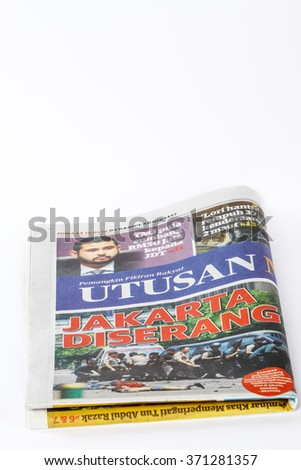 Kuala Lumpur, Malaysia 29 January 2016 : Front page of Utusan Malaysia. Utusan Malaysia has been spearheading and promoting various issues that many thought were sensitive
