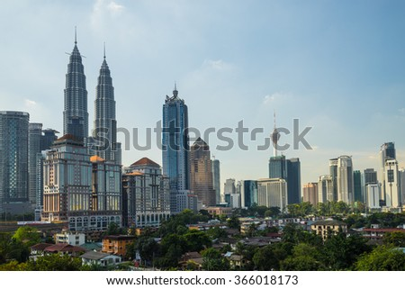 KUALA LUMPUR, MALAYSIA - 11TH JANUARY 2016; View of downtown Kuala Lumpur, Malaysia (called simply KL by locals). KL is a busy city with ordered skyscrapers,colonial architecture and lots of greenery.