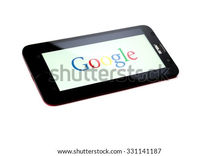 KUALA LUMPUR - OCTOBER 2,2015. Google logo on smartphone. Google Inc. is an American multinational technology company specializing in Internet-related services and products.
