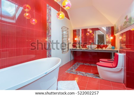 kursk city russia february 10 2015 in cottage the spacious bathroom is - Red Bathroom 2015