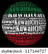 Kuwait City capital city of Kuwait info-text graphics and arrangement concept on black background (word cloud) - stock photo