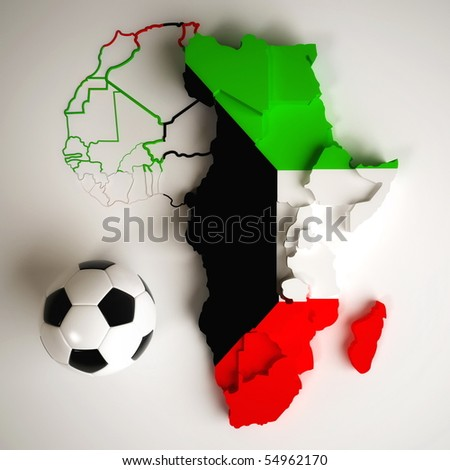 Kuwaiti flag on map of Africa with national borders