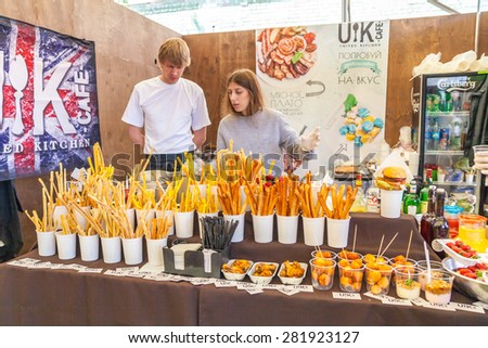 Kyiv - May 16: Sale of sweets at the food festival, May 16, 2015, Kyiv, Ukraine