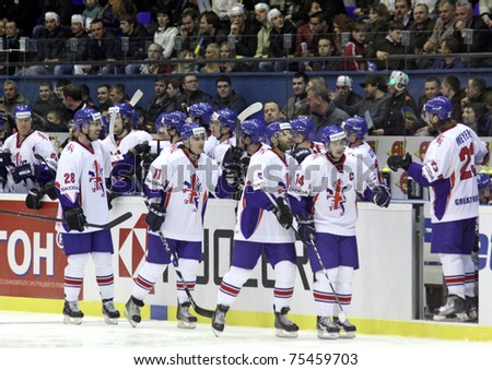 KYIV, UKRAINE - April 17: Great Britain team react after they scored against Ukraine during their IIHF Ice-hockey World Championship DIV I Group B game on April 17, 2011 in Kyiv, Ukraine