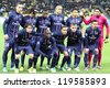 KYIV, UKRAINE - NOVEMBER 21: FC Paris Saint-Germain team pose for a group photo before UEFA Champions League game against FC Dynamo Kyiv on November 21, 2012 in Kyiv, Ukraine - stock photo