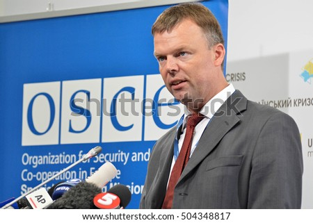 KYIV, UKRAINE - OCTOBER 24, 2016: Alexander Hug, Deputy Chief Monitor of the OSCE SMM in Ukraine reads a report of the current state in the occupied territory of Ukraine at a press briefing