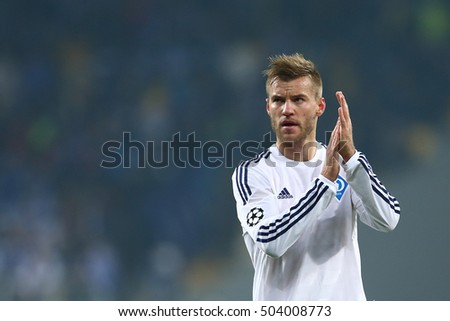 KYIV, UKRAINE - OCTOBER 20, 2015: Andriy Yarmolenko close-up portrait applauding to his fans, UEFA Chamions League Group Stage match between Dynamo Kyiv and Chelsea
