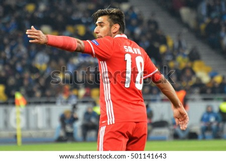 KYIV, UKRAINE - OCTOBER 19, 2016: Eduardo Salvio of Benfica celebrates after scoring the 0-1 opening goal during the UEFA Champions League group B soccer match between Dynamo Kyiv and Benfica Lisbon