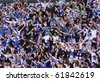 KYIV, UKRAINE - SEPTEMBER 26: FC Dynamo Kiev fans support their team during Ukraine Championship game against Arsenal on September 26, 2010 in Kyiv, Ukraine - stock photo