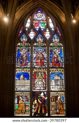La Ferte-Bernard (Sarthe, Pays de la Loire, France) - Interior of the gothic church: stained glass