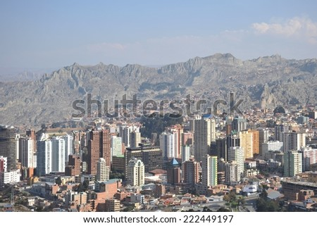 LA PAZ, BOLIVIA - SEPTEMBER 11, 2010:The actual capital of Bolivia, where most of the state institutions and the residence of the President of the country, although the constitutional capital is Sucre