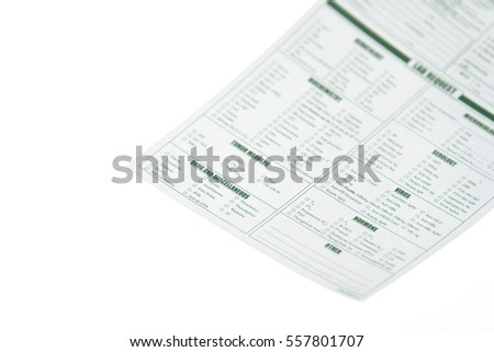 Lab requisition blood test form for laboratory on white