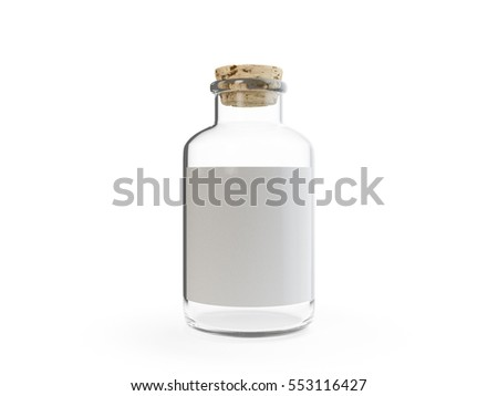 Labeled glass bottle with cork 3D illustration