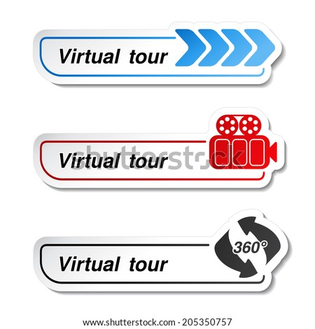 labels - stickers for virtual tour, navigation button