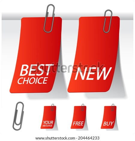 labels with paperclip, best choice and new