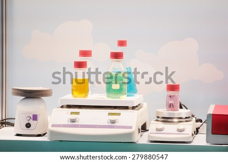 Laboratory equipment. Chemical substance in the bottle