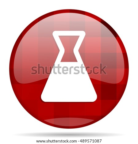laboratory red round glossy modern design web icon
