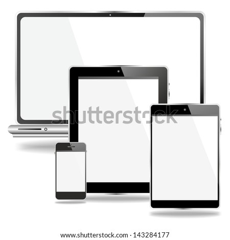 labtop and mobile devices with white screen