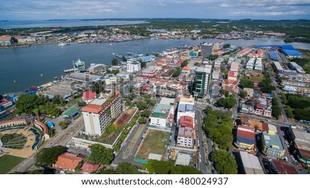 Labuan,Malaysia-Sept 8,2016:Aerial view of the city of Labuan town,Malaysia.Labuan town is the capital of the Federal Territory of Labuan in Malaysia,an island group off the north coast of Borneo.